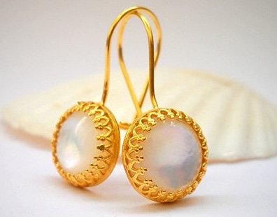 White Shell Gold filled earrings