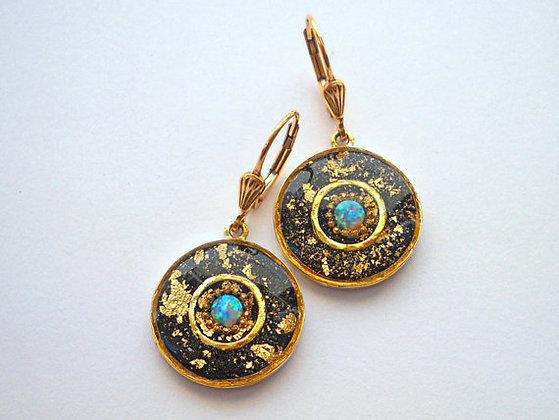 Black & Gold &Opal  earrings