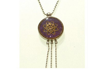 Purple and gold flower pendant necklace