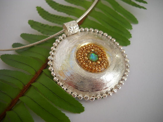 Rough Silver pendant opal gemstone