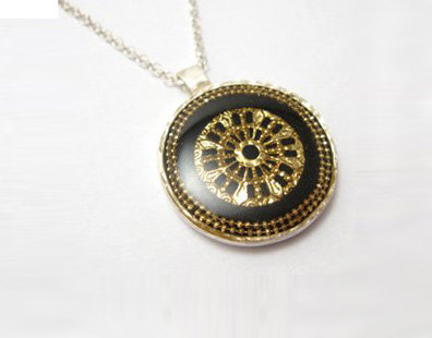 Gold mandala pendant necklace