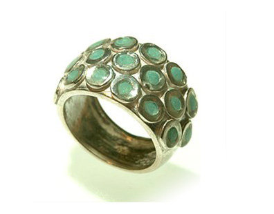 Silver circles ring with mint green resin