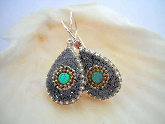Drop Opal Sterling silver earrings