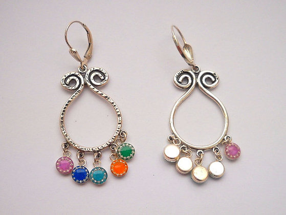 Silver earrings with colorful beads
