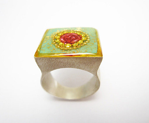 Square Turquoise ring with an inlaid Red rose