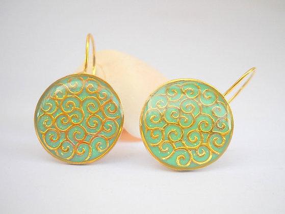 Gold Green Sterling silver spirals earrings