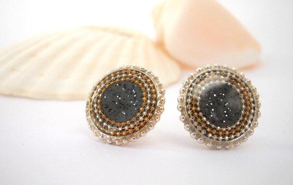 smokey grey studs elegant earrings