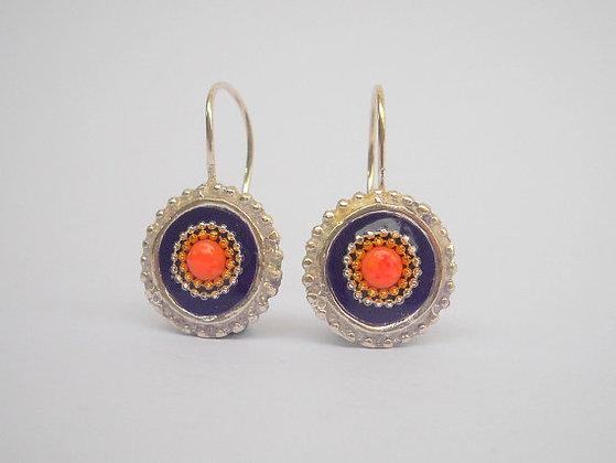 Purple Red Coral earrings