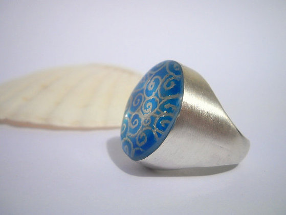 Blue ring spirals ring Sterling silver ring