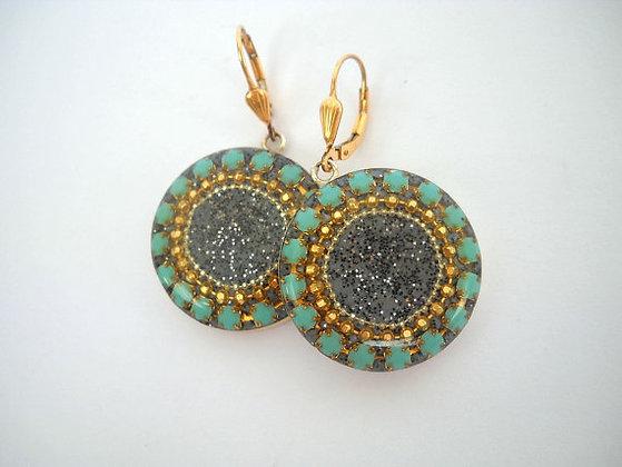 Mint Grey Sterling  Round dangle earrings