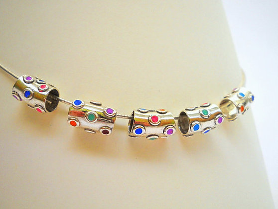 Sterling silver necklace with multi color dots