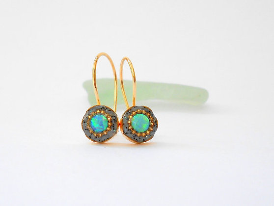 Blue Green Opal hook earrings