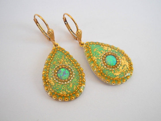 Opal Sterling silver earrings