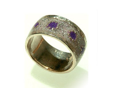 White  ring with purple flowers