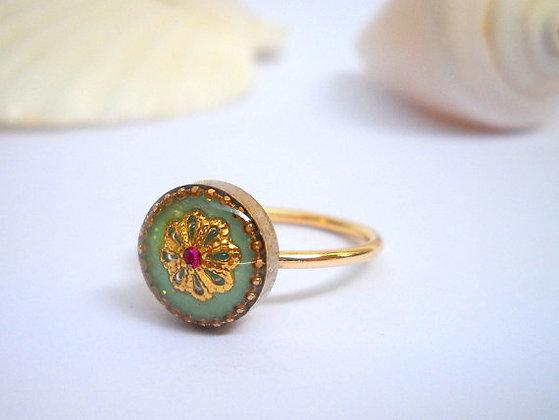Green ring flower ring Goldfilled ring