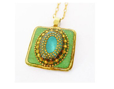 Rectangle green and blue pendant necklace