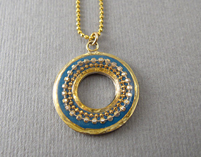 Blue hoop pendant necklace