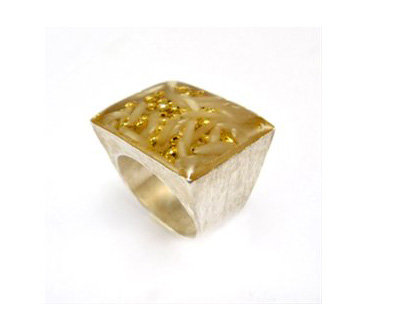 Square silver ring gold plated dots and rice