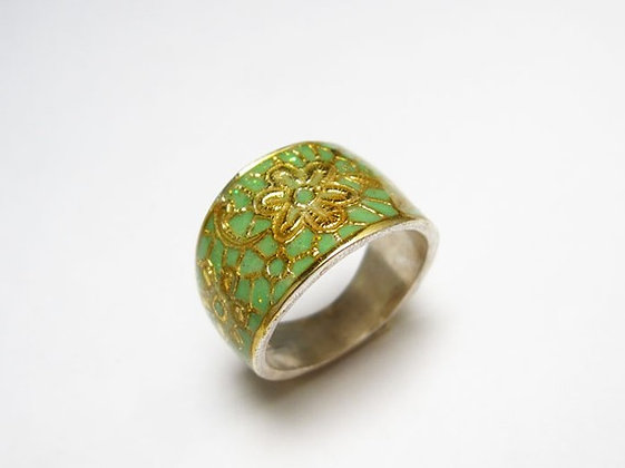 Mint green Gold flowers ring