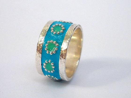 Blue Green flowers ring