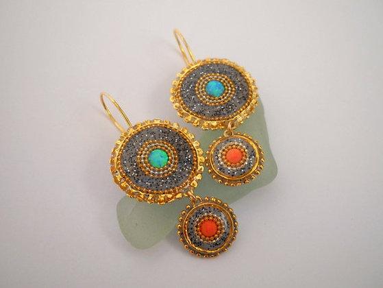 Gold Grey, Opal Coral earrings