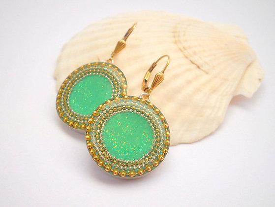 Gold Green Silver earrings