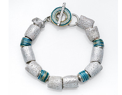 Sterling silver bracelet with blue beads
