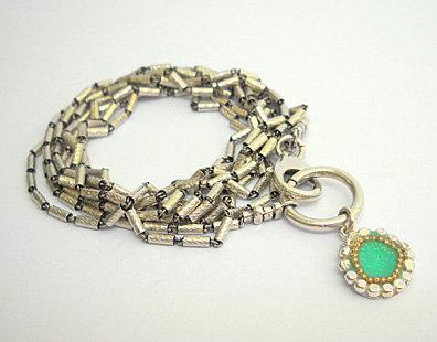 Silver beads bracelet.
