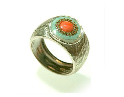 Mint green oval ring with coral stone