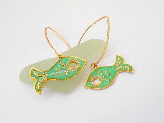 Fish earrings Green gold earrings
