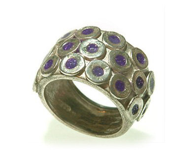 Silver circles ring with purple resin