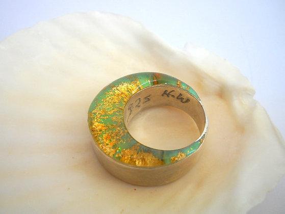 Green Gold silver circles ring