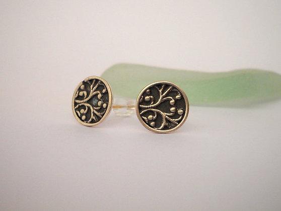 Oxidized teen gifts black silver post earrings
