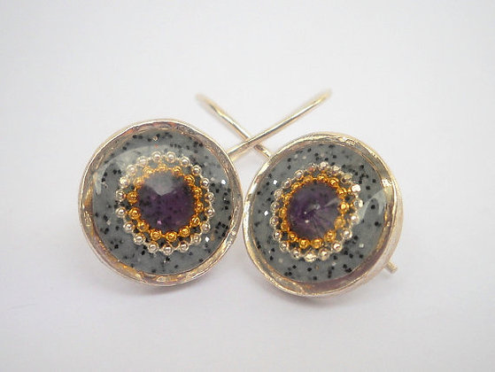 Grey Purple earrings