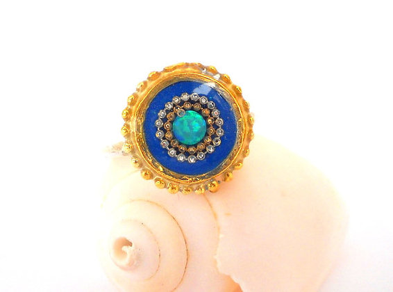 Blue ring Opal ring
