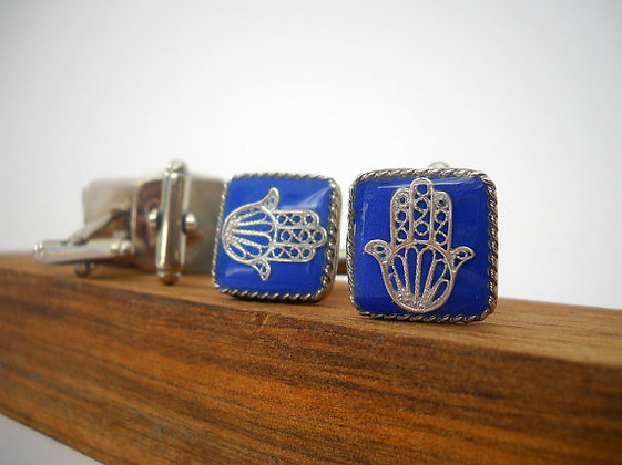 Man Blue Silver cufflinks
