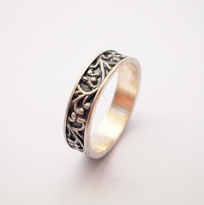 Oxidized Black Silver ring with filigree fill
