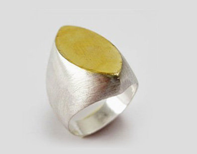 Unique Leaf shape gold and silver ring