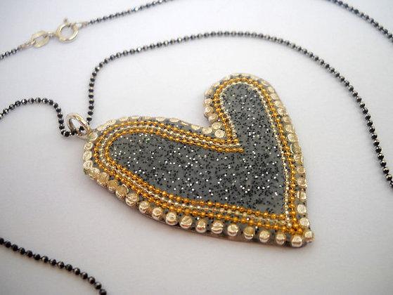 Bridal jewelry, Grey silver heart pendant