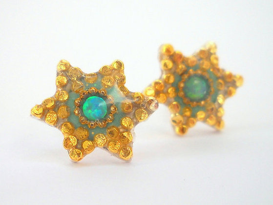 Gold & Turquoise,star of david earrings