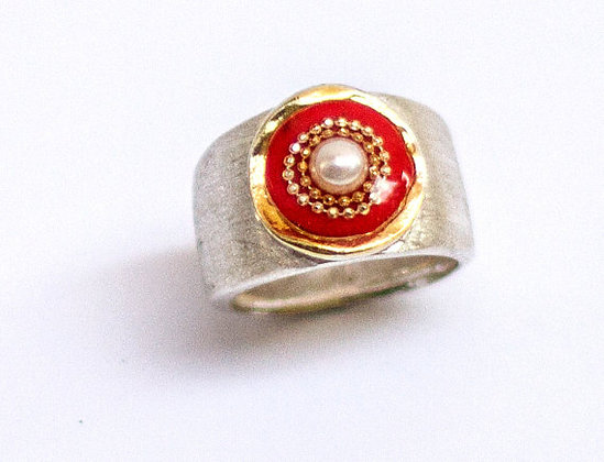 Red ring, Pearl ring, Sterling silver ring,