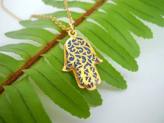 Gold purple Hamsa hand necklace