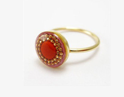 Red oval gold-filled red ring