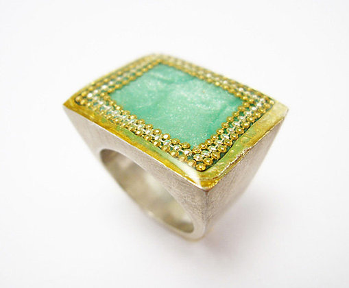 Square Green gold Ring