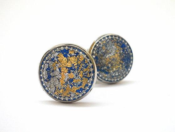 Man Blue Gold Round Cufflinks