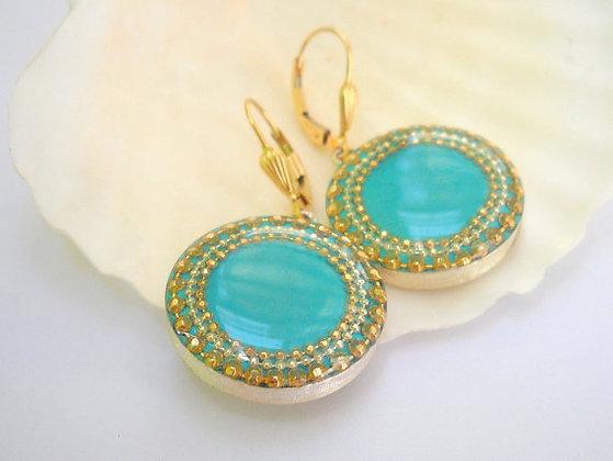 Gold Blue Silver earrings