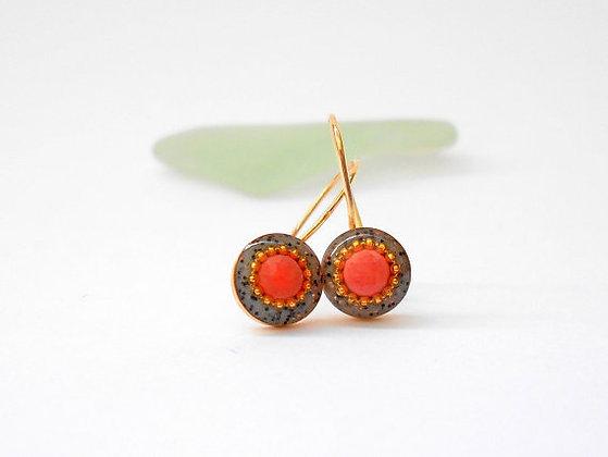 Red Coral earrings Gold hook earrings