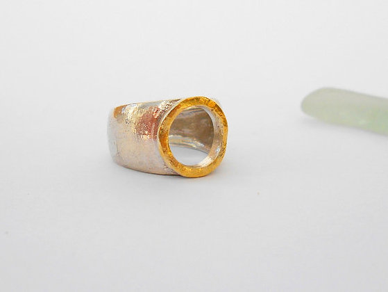 Gold silver hole ring