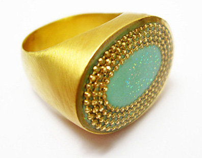 Oval Mint green ring