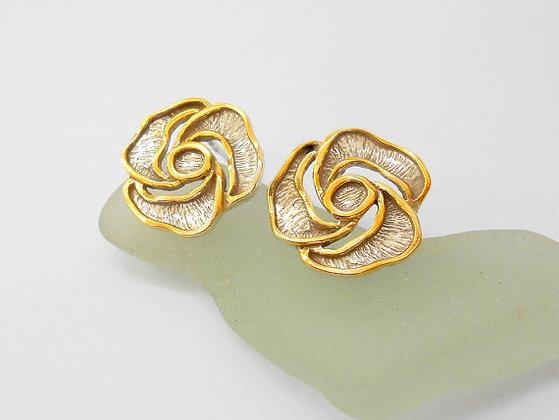 Flower studs Gold silver flower earrings